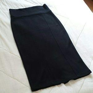 Zara Black Stretchy Knit Pencil Skirt